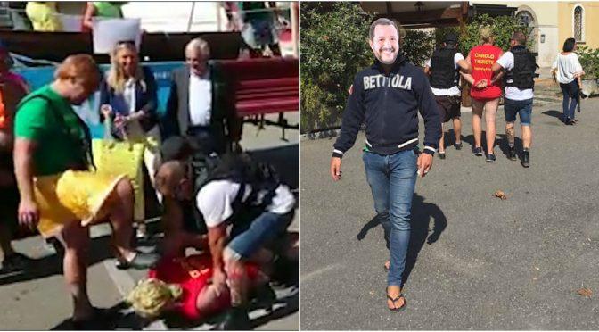 """Salvini """"arresta"""" Carola a festa di paese: sinistra protesta – VIDEO"""