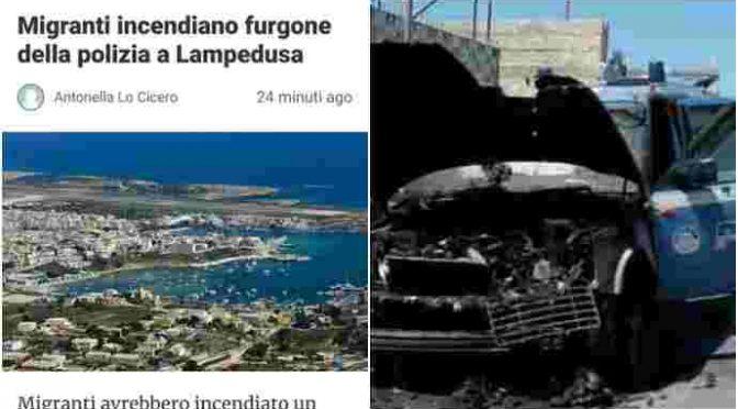"""""""Migranti Open Arms incendiano furgone della polizia a Lampedusa"""", è caos"""