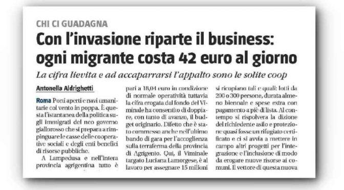 PD-M5s: raddoppia la 'paghetta' a profughi e COOP, 42 euro!