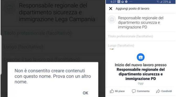 "Denuncia: ""Facebook rifiuta il termine 'Lega'…"""
