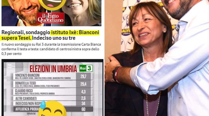 Il sondaggio di Rai3 che dava vincente la sinistra in Umbria