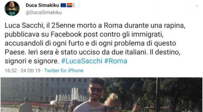 """Luca Sacchi, la sinistra esulta: """"E' morto un sovranista"""""""