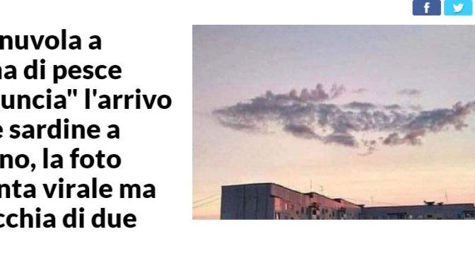 Repubblica fabbrica di bufale: 'Nuvola a forma di pesce annuncia sardine a Milano', ma è in Russia
