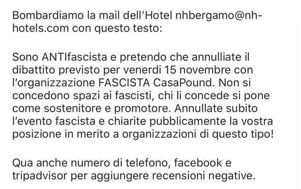 Minacce antifà ad hotel che ospita convegno sovranista