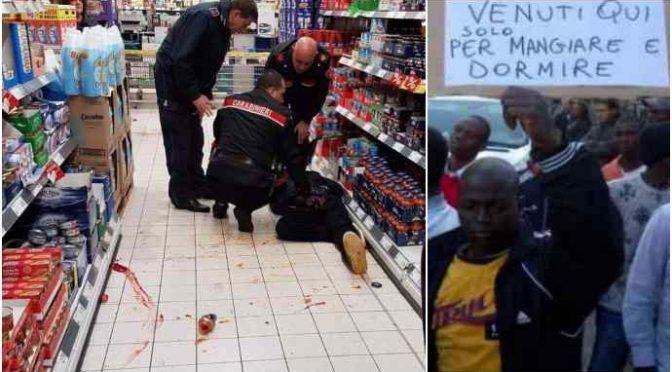 Immigrato devasta supermarket: placcato da militari – FOTO