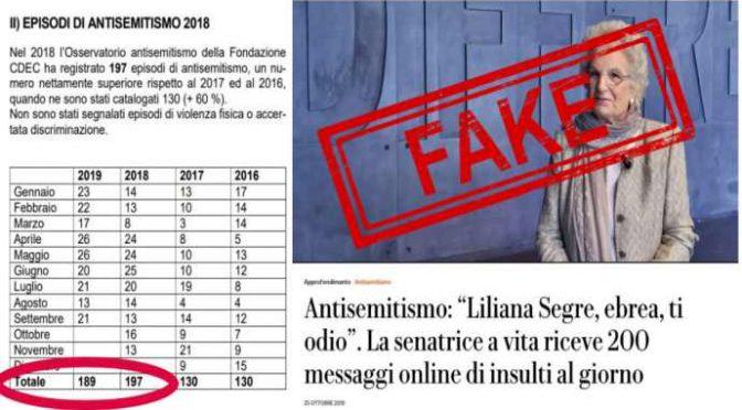 Repubblica ammette: i 200 insulti antisemiti a Segre non esistono!
