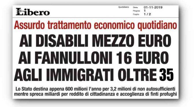 Ai disabili nemmeno 1 euro: ai finti profughi 35 euro al giorno