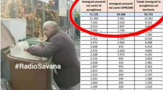 Anziani mangiano nella spazzatura mentre sfamiamo 100mila immigrati in hotel