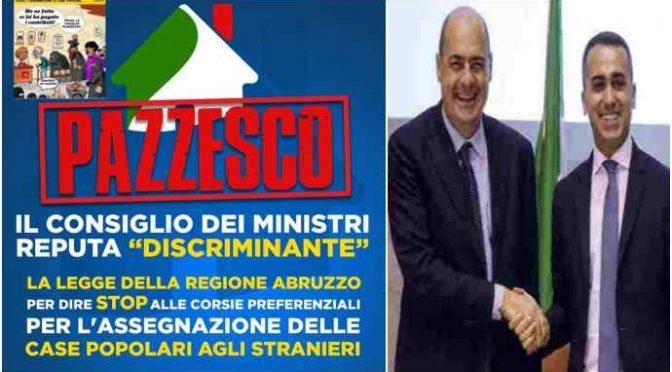 """Governo impugna legge case popolari: """"non devono andare prima agli italiani"""""""