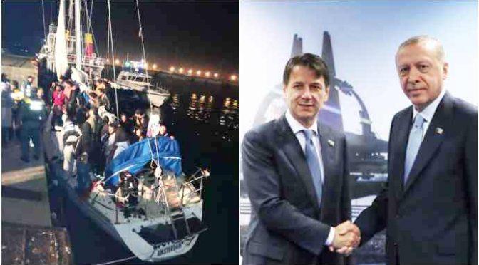 Erdogan dichiara guerra all'Italia: invia soldati in Libia e ci manda centinaia di clandestini su yacht a vela,