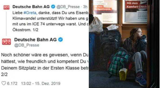 """Ferrovie tedesche smentiscono Greta: """"Ha viaggiato in prima classe"""", fotomontata"""