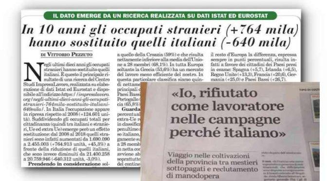 640mila italiani licenziati per fare posto a immigrati