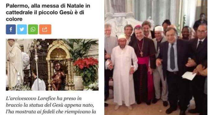 Palermo, Gesù è nero: vescovo dei barconi lo bacia e mostra ai fedeli