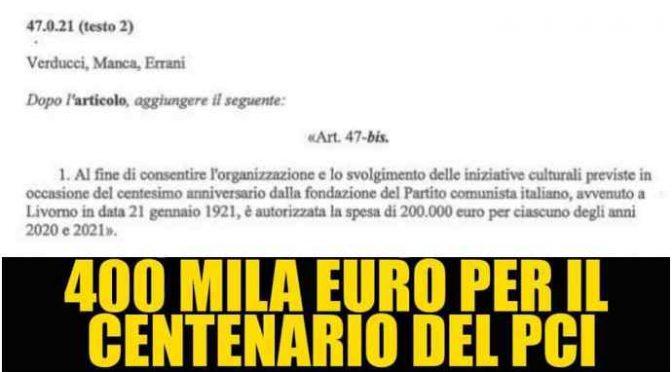 """Manovra: 400mila euro per celebrare nascita Partito Comunista, Salvini: """"E tassano italiani"""""""