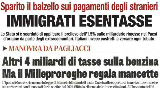 Governo cancella la tassa agli immigrati e le aumenta agli italiani