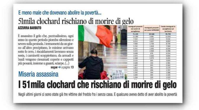 Migliaia senzacasa italiani rischiano di morire al gelo mentre 100mila immigrati vivono in hotel