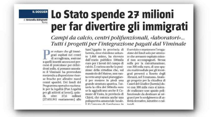Governo spende 27 milioni di euro per divertire i migranti