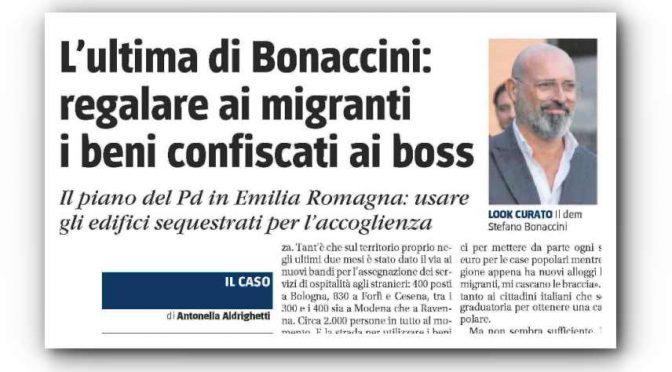 Bonaccini regala alle coop degli immigrati i palazzi sequestrati alla mafia