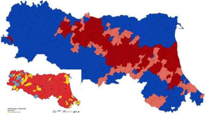 Emilia Romagna: il Pd festeggia una sconfitta politica, dove si è ridotto – MAPPA