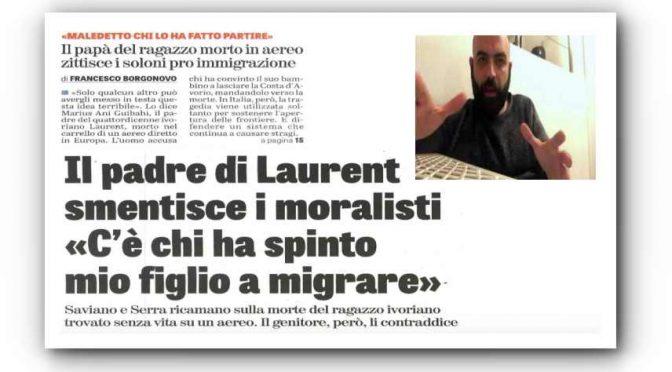 """Padre del ragazzo morto in aereo zittisce Saviano: """"Maledetto chi lo ha spinto a migrare"""""""