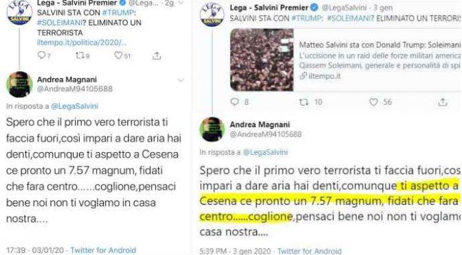 """Romagna, minacce di morte a Salvini: """"Ho pistola pronta"""""""