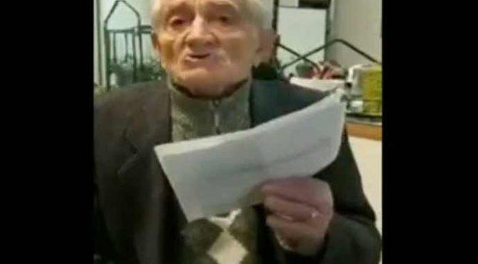 """Nonno Emilio, bolognese di 90 anni lancia appello: """"Dobbiamo votare Salvini"""" – VIDEO"""