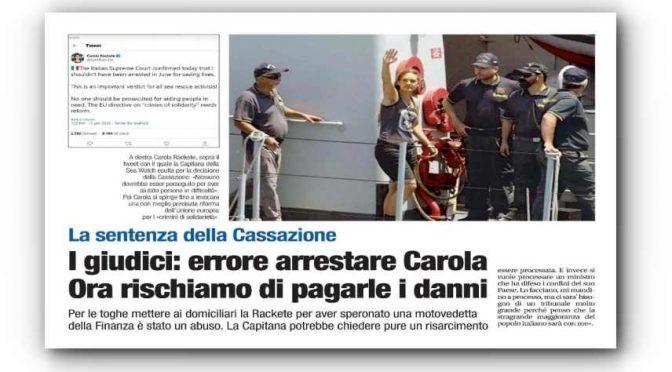 Ora la trafficante umanitaria Rackete chiederà i danni all'Italia