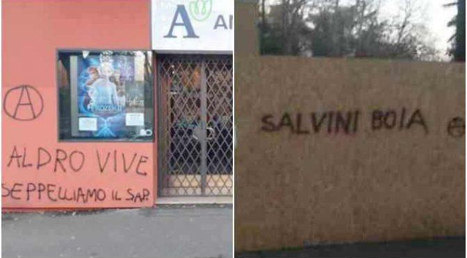 Emilia, sinistra minaccia Salvini e poliziotti – FOTO