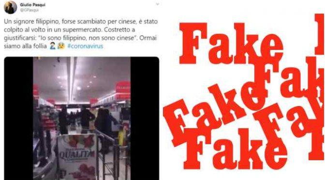 """""""Coronavirus, prende a pugni filippino al supermercato"""": NOTIZIA FALSA – VIDEO"""