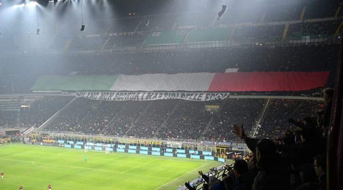 Foibe, l'omaggio degli ultras dell'Inter durante il derby
