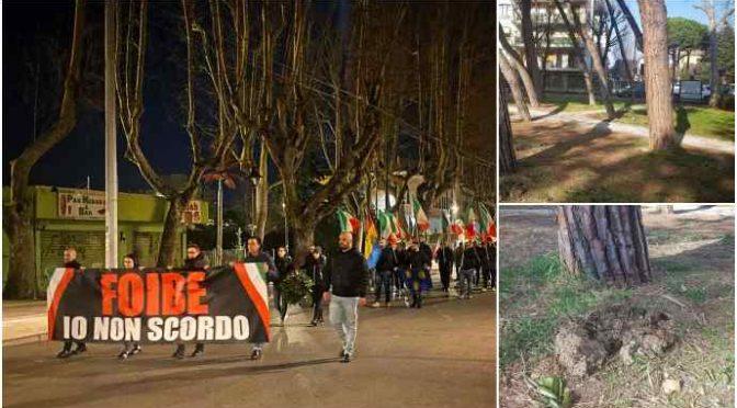Raid teppisti al parco Vittime delle Foibe: protesta FN a Rimini