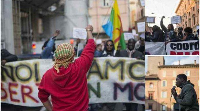 """Clandestini marciano su Bologna: """"Noi facciamo muovere la città"""""""