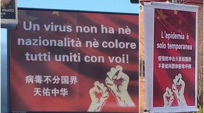 Coronavirus, a Prato ecco i cartelloni in stile maoista contro il 'razzismo'