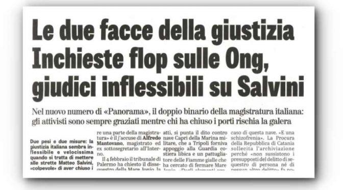 Toghe rosse: processano Salvini e graziano i trafficanti delle ONG