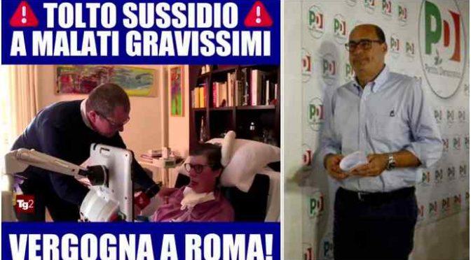 Lazio, Zingaretti taglia sussidio a 800 disabili gravi ma regala 700mila euro all'Ong di sinistra – VIDEO