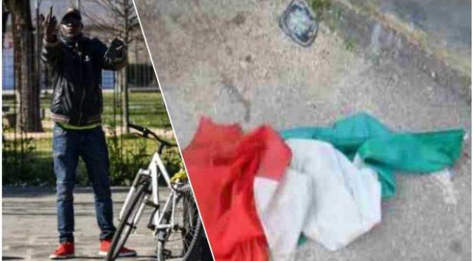 Immigrato calpesta bandiera italiana: picchia chi la difende e morde militari