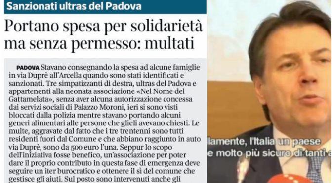 """Portano cibo ai poveri, ultras multati dal PD: """"E' vietato dal DPCM"""" – VIDEO"""