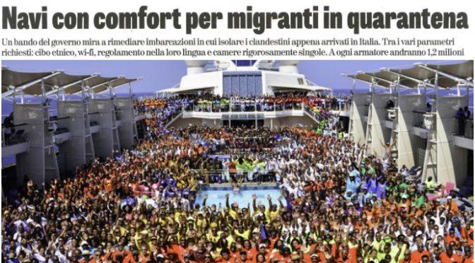 M5S vuole pazienti in tenda per risparmiare e immigrati su nave da 1,5 milioni