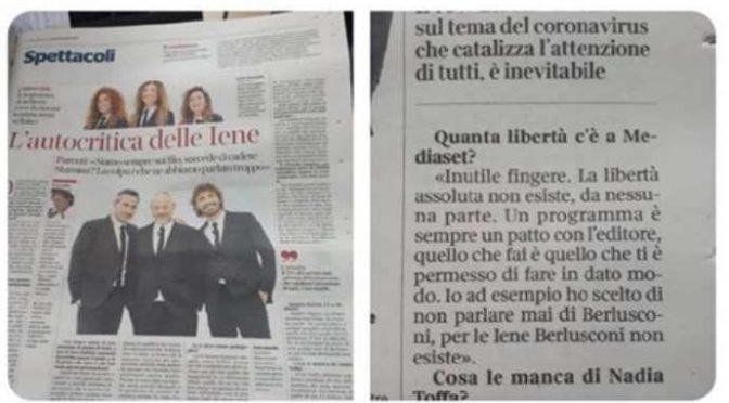 """La Iena confessa: """"Non parliamo di Berlusconi perché ci paga lo stipendio"""""""