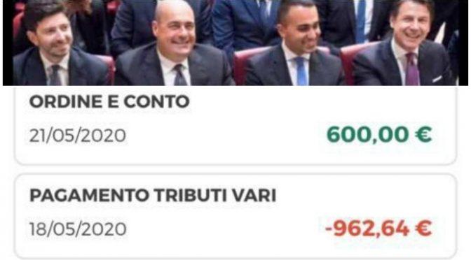 Governo ladro: ti danno 600 euro per pagarne 962 in tasse