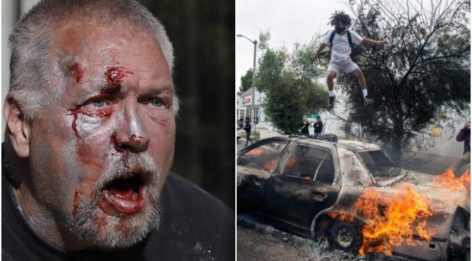 Anziano massacrato da neri e antifà: auto incendiata – VIDEO