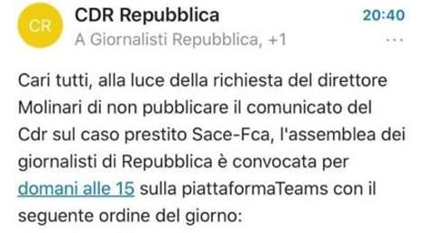 Repubblica, direttore blocca comunicati contro FIAT: redazione in rivolta, abituati a bloccare solo quelli su De Benedetti