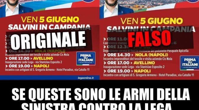 Sottosegretario grillino diffonde bufala: Vesuvio sostituito dall'Etna nel manifesto leghista