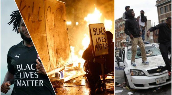 Milan con maglia estremisti Black Lives Matter che abbattono le statue