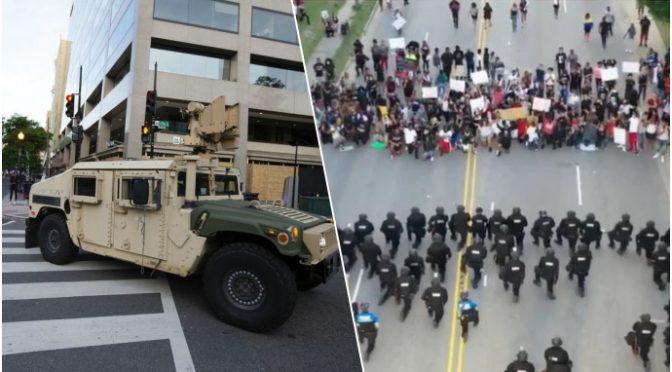 Poliziotti imbelli si inginocchiano ai teppisti, arrivano i militari: 66% americani con Trump