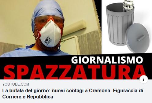 I giornali si inventano epidemia coronavirus a Cremona: terrorismo sanitario