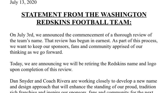 I Redskins cambiano nome per non turbare gli invasati antirazzisti