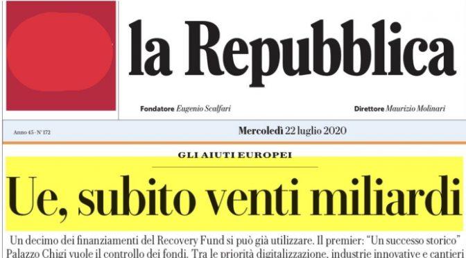 Il titolo falso di Repubblica sul Recovery Fund: i 20 miliardi subito non esistono