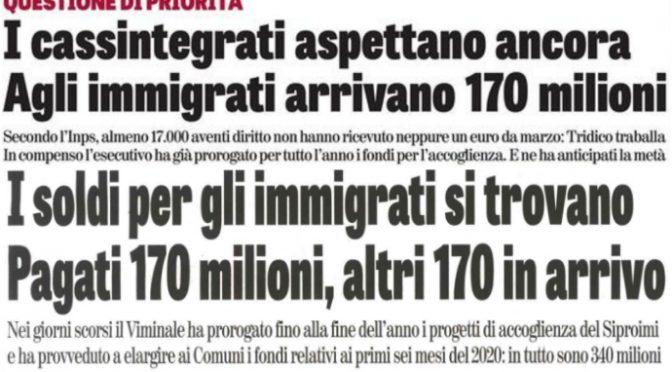 Altri 340 milioni per la paghetta agli immigrati mentre cassintegrati aspettano