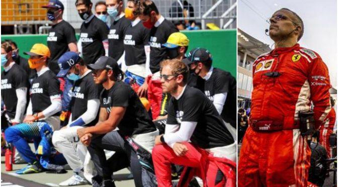"""Hamilton contro i meccanici Ferrari che non si inginocchiano: """"Dovete farlo"""""""